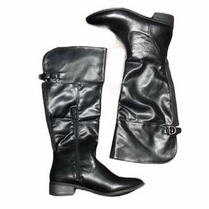 Report Black Faux Leather Knee High Boots